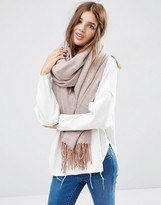 Asos Oversized Scarf With Tassels In Herringbone Geo