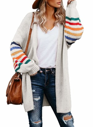 HIKARO Womens Plus Size Casual Cable Patchwork Balloon Sleeve Long Cardigan Sweater Jumper Tops White