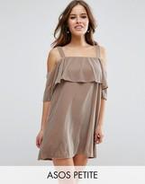 Asos Double Layer Velvet Mini Dress with Cold Shoulder Detail