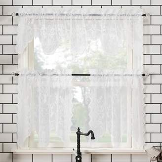 """No. 918 58""""x24"""" Alison Floral Lace Sheer Rod Pocket Kitchen Curtain Valance and Tiers Set"""