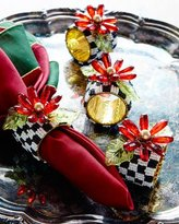 Mackenzie Childs MacKenzie-Childs Poinsettia Napkin Rings, Set of 4