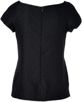 Moschino Midnight Blue Dotted Cotton-Silk Top