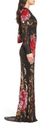 Mac Duggal Long Sleeve Sequin Column Gown