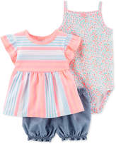 Carter's Baby Girls 3-Pc. Printed Cotton Bodysuit, Top & Shorts Set