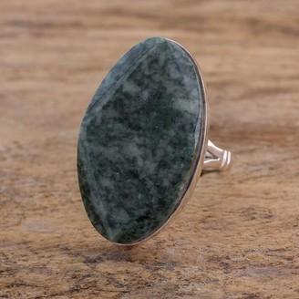 Novica Handmade Sterling Silver 'Light Green Maya Mystique' Jade Ring