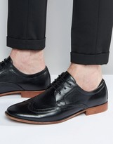Asos Brogue Shoes in Black With Natural Sole