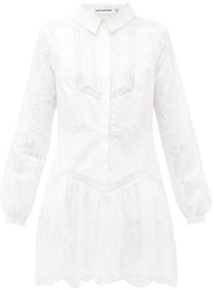 Self-Portrait Lace-panel Cotton Mini Shirt Dress - Womens - White