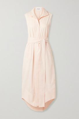 ARIAS Belted Cotton-poplin Midi Dress - Pastel pink