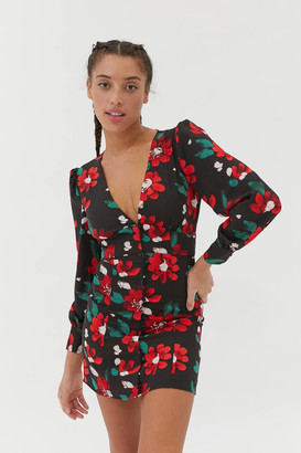 Urban Outfitters Michelle Plunging Long Sleeve Mini Dress