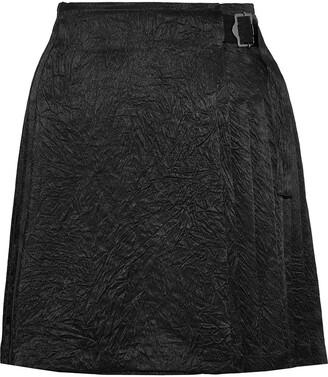 Opening Ceremony Pleated Crinkled-satin Wrap Mini Skirt