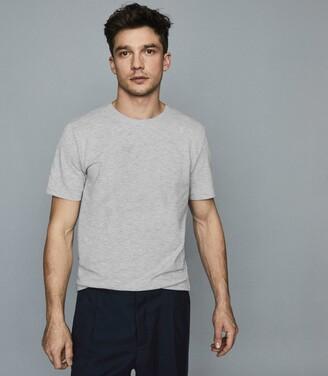 Reiss Heaton - Textured Melange Crew Neck T-shirt in Grey