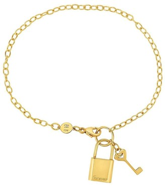 Saks Fifth Avenue Made In Italy 14K Yellow Gold Lock and KeyChain Bracelet