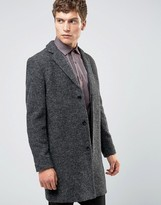 Selected Overcoat In Boucle In Charcoal