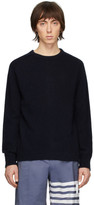 Thom Browne Navy Jersey Stitch Center-Back Stripe Sweater