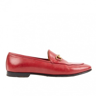 Gucci Jordaan Red Leather Flats