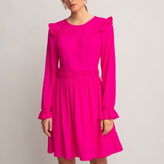 La Redoute Collections Ruffled Mini Dress with Long Sleeves
