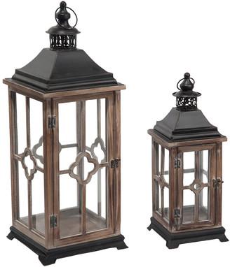 Transpac Set Of 2 Wood Brown Spring Traditional Lantern