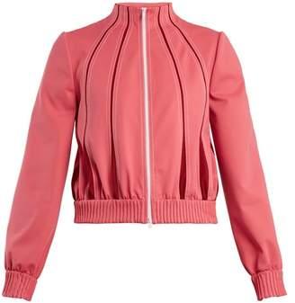 Valentino High-neck Zip-through Jersey Track Top - Womens - Pink