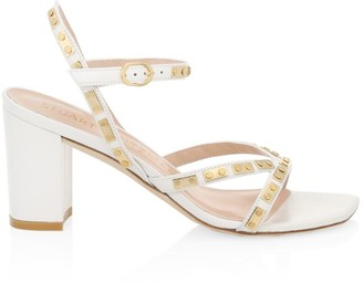 Stuart Weitzman Katalina Studded Block-Heel Leather Sandals