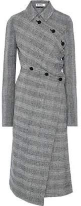 Jil Sander Asymmetric Prince Of Wales Checked Wool-blend Tweed Coat
