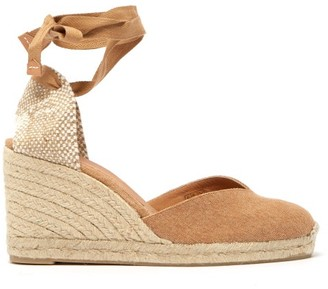 Castaner Chiara 80 Canvas & Jute Espadrille Wedges - Light Tan