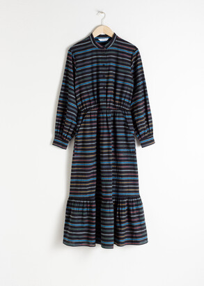 And other stories Cotton Blend Striped Midi Dress