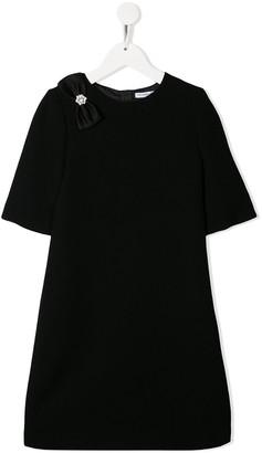 Dolce & Gabbana Kids Bow Embellished Shift Dress