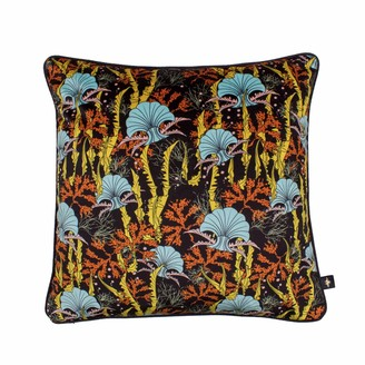 The Curious Department Coral Odyssey Black Velvet Cushion