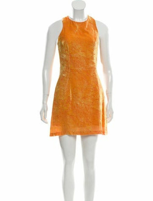 Gianni Versace Sleeveless Knee-Length Dress Orange