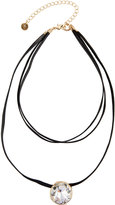 Lydell NYC Faux Leather & Crystal Choker Necklace