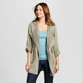 Knox Rose Women's Crochet Lined Drape Front Jacket - Knox Rose Olive