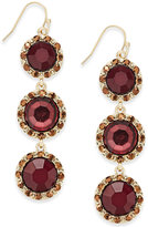 INC International Concepts Gold-Tone Triple Stone Linear Drop Earrings, Only at Macy's