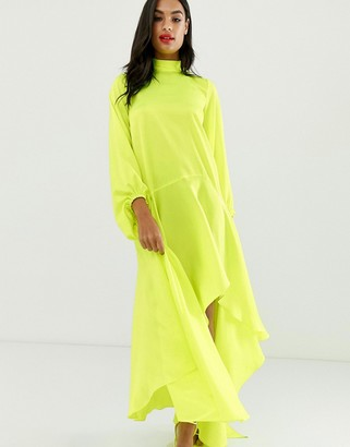 ASOS DESIGN satin maxi dress with scarf neck and with extreme sleeve