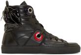 Raf Simons Black Leather Heel Pocket High-top Sneakers
