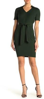 Alexia Admor Dianne Belted Pick Stitch Sheath Dress