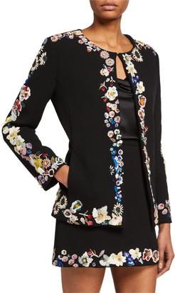 Libertine Edith Sequined Floral-Trim Jacket