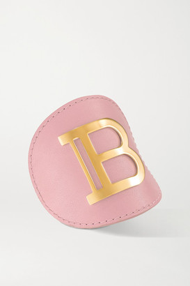 Balmain Paris Hair Couture Leather And Gold-plated Hair Clip - Pink