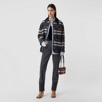 Burberry Lambskin Trim Stripe Intarsia Wool Barn Jacket