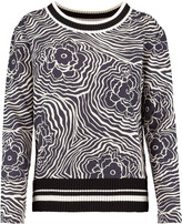 See by Chloe Paneled printed cotton-blend bouclé top