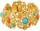Ben-Amun Jewelry Santorini Turquoise Coral Stone Gold Link Bracelet