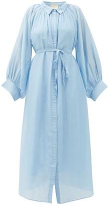 Anaak - Cleo Balloon-sleeve Cotton-blend Midi Shirt Dress - Light Blue