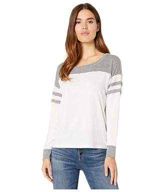 Chaser Blocked Jersey Football Tee (White/Streaky Grey) Women's Clothing