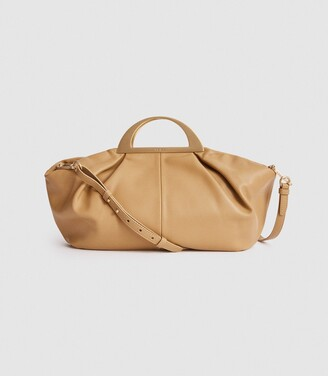 Reiss Janina - Large Leather Cross Body Bag in Soft Camel