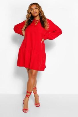 boohoo Plus Woven Ruffle Tiered Skater Dress