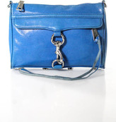 Rebecca Minkoff Blue Leather Silver Chainlink MAB Morning After Shoulder Handbag