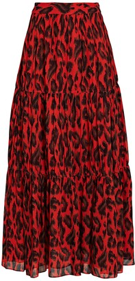 Derek Lam 10 Crosby Qualley Leopard Print Maxi Skirt