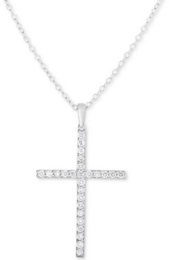 Forever Grown Diamonds Lab-Created Diamond Cross Pendant Necklace (1/2 ct. t.w.) in Sterling Silver