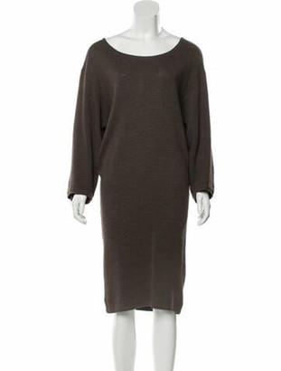 Alaia Scoop Neck Knee-Length Dress Brown