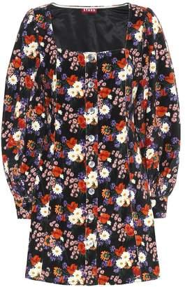 STAUD Floral velvet minidress