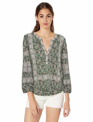 Lucky Brand Women's Knit Henley Balloon Sleeve Top